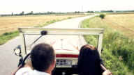 HD SUPER SLOW-MOTION: Loving Couple Driving With Vintage Car video