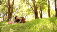 Loving couple happily sharing a summer picnic in a park video