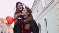 SLO MO Loving couple in the city video