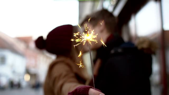 SLO MO Loving couple kissing with the sparkler video