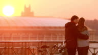 Loving couple outdoor at sunset video