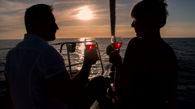 MS Loving Couple Sailing At Sunset video