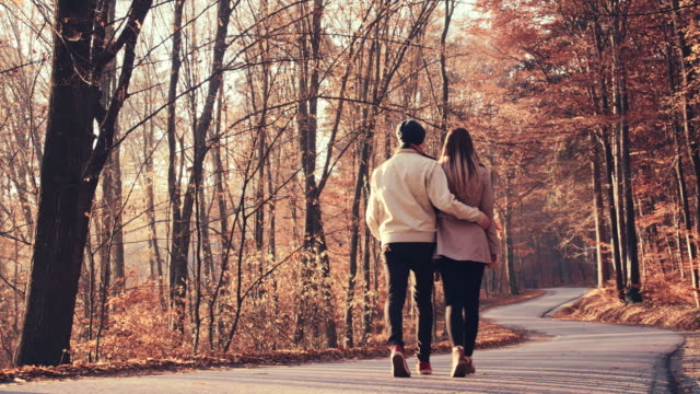 SLO MO Loving couple walking through autumn forest video