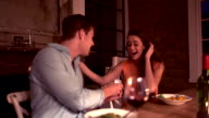 Loving man proposing with engagement ring to girlfriend video