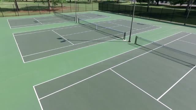 Low Aerial view of tennis courts video