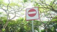 low angle dolly: stop sign under park in Singapore video