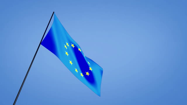 low angle euro flag blue sky video