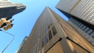 low angle HD pan of multiple skyscrapers video