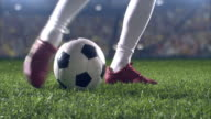 Low angle kick by soccer player video