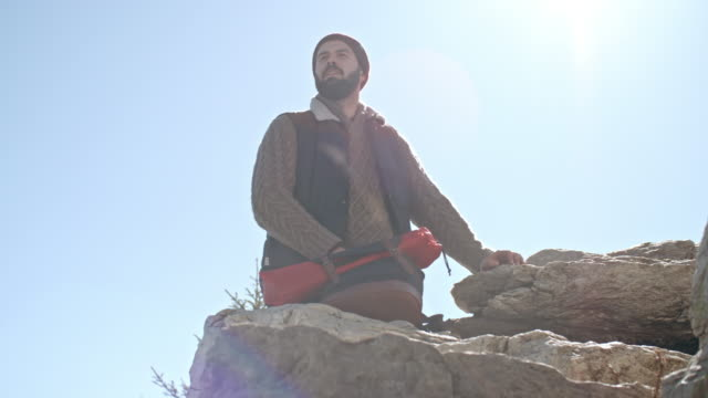Low Angle of Hiker Enjoying View video