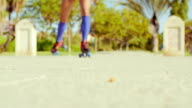 Low Angle Video of a Girl Riding Roller Skates video