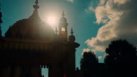 Low key silhouette shot of the famous Royal Pavilion Palace in the city of Brighton, England, UK video