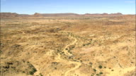 Low Over Arid Landscape  - Aerial View - Northern Cape,  Siyanda District Municipality,  Kai !Garib,  South Africa video