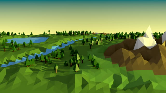 Low poly landscape. video