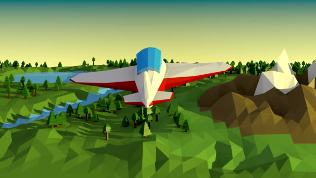 Low poly landscape with airplane. video