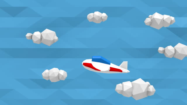 Low poly sky with clouds and small airplane video