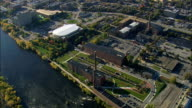 Lowell Historic Park And Mills  - Aerial View - Massachusetts,  Middlesex County,  United States video