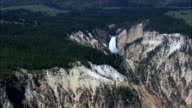 Lower Falls  - Aerial View - Wyoming,  Park County,  helicopter filming,  aerial video,  cineflex,  establishing shot,  United States video