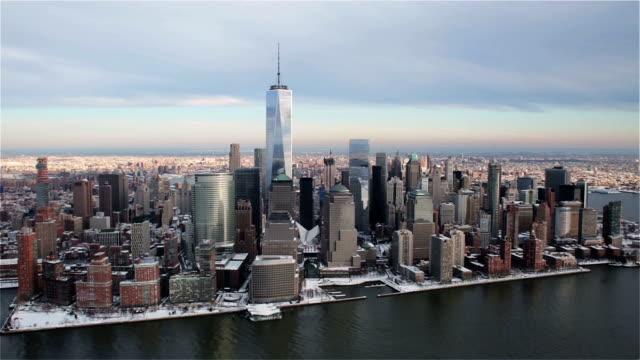 Lower Manhattan Aerial Footage - Winter/Snow video