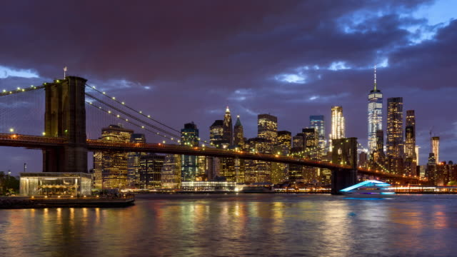 Lower Manhattan Financial District skyscrapers, Brooklyn Bridge, and East River time lapse. New York City video