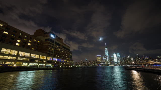 Lower Manhattan New York City view from Jersey City Wide Night Timelapse video