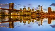 Lower Manhattan skyline at night video