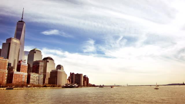 Lower Manhattan skyline financial district, New York video