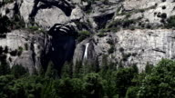 Lower Yosemite Falls From Distance Rock And Trees video