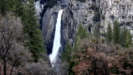 Lower Yosemite Falls With Granite Rock Green And Bare Trees video