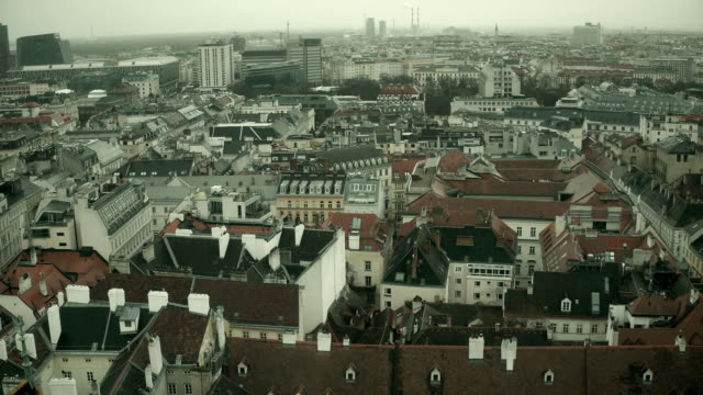 Low-rise roofs of Vienna on a hazy day, Austria. FullHD overview pan video video