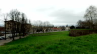Lucca,Italy,view from park and cars on the road video