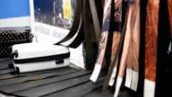luggage on baggage conveyor belt at airport video