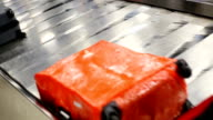 Luggage with conveyor belt in the airport. video