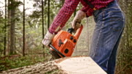 SLO MO Lumberjack cutting through fallen tree trunk with chainsaw video
