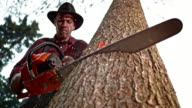 SLO MO Lumberjack making a cut into tree with chainsaw video