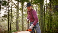 SLO MO Lumberjack starting a chainsaw video