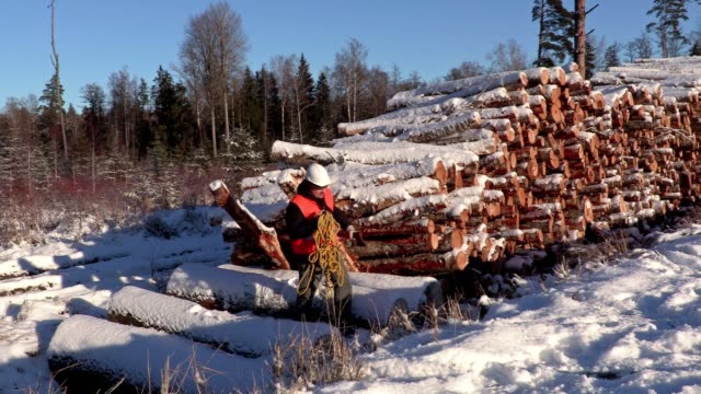 Lumberjack with rope across snow covered slope video
