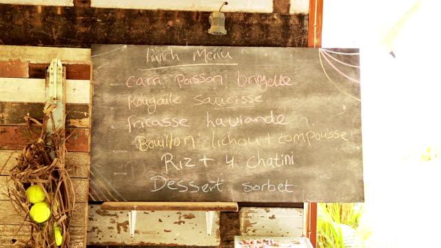 lunch menu on chalkboard video