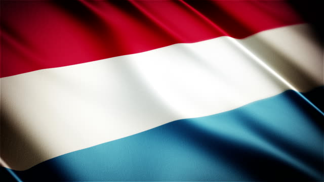 Luxembourg realistic national flag seamless looped waving animation video