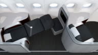 Luxurious business class cabin interior with frosted acrylic partition video