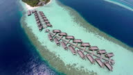 Luxurious over-water villas on tropical island resort, Maldives. video