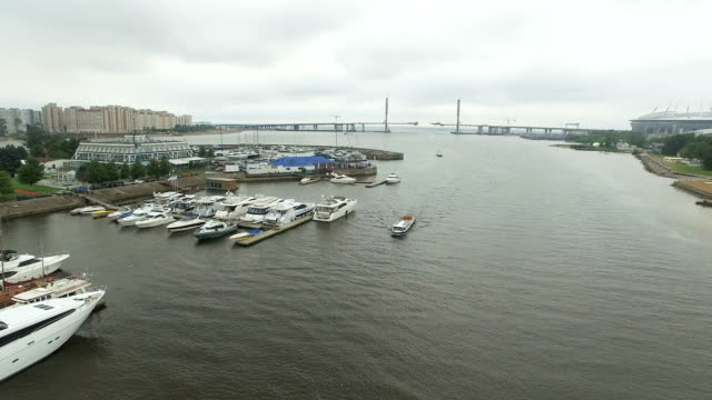 Luxury Boats Moored At Pier video