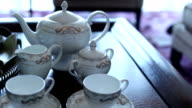 luxury dishwares on table in living room, real time. video