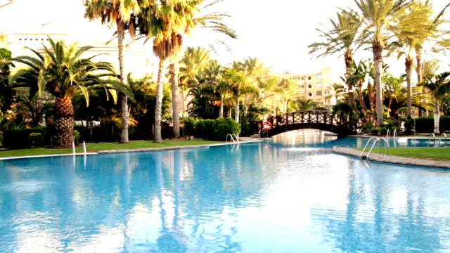 Luxury Hotel Pool, dolly shot video