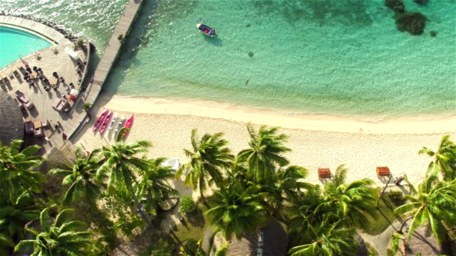 AERIAL: Luxury resort swimming pool hotel on exotic white sandy beach with sun lounger daybeds and deluxe waterfront bungalow villas beneath the lush palm trees on perfect tropical island video