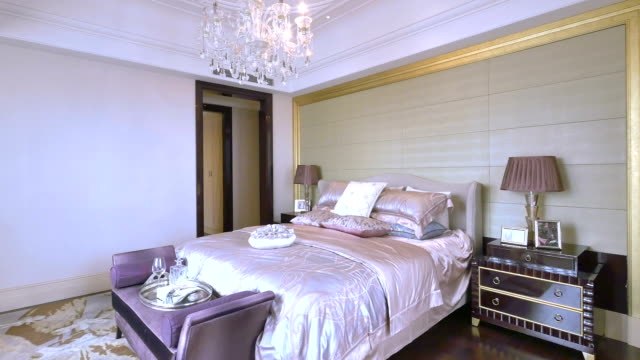 luxury sample bedroom interior and decoration, Real time. video