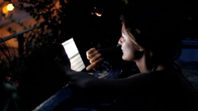 luxury spa - woman surfing in internet on tablet in whirlpool bath - jacuzzi video