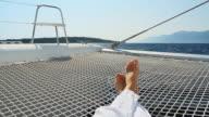 HD: Lying On The Catamarans Trampoline video
