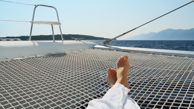 HD: Lying On The Catamarans Trampoline video