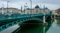 Lyon bridge along Rhone river video